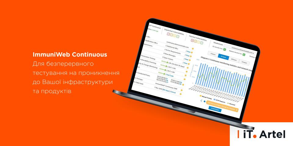 ImmuniWeb Continuous_для безперервного тестування на проникнення до Вашої інфраструктури та продуктів_iT.Artel